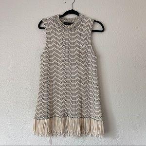 Proenza Shoulder Cream Fringe Knit Dress